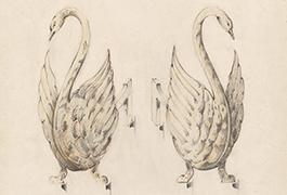 [Andirons with Swan Design], 1935