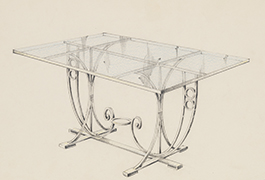 [Rectangular Glass-Topped Patio Table in the Art Deco Style with Circle Accents], 1941