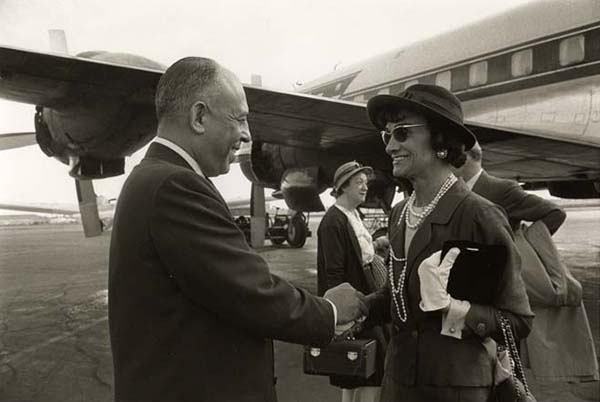 [Stanley Marcus Greeting Coco Chanel at Dallas Love Field Airport]