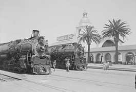 2 Santa Fe No. 3758, 3759 4-8-4 wait at Santa Fe San Diego Station
