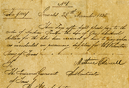 Provisional Government of Texas $100.00 (one hundred dollars) audited draft, 1835, Gonzales, Gonzales County