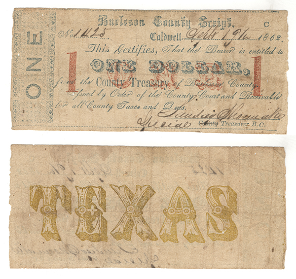 Burleson County $1.00 (one dollar) county scrip