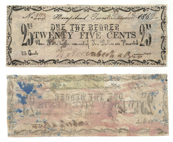 25 cents (twenty five cents) private scrip