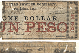 Texas Powder Company $1.00 (one dollar) private scrip from San Antonio in Bexar County
