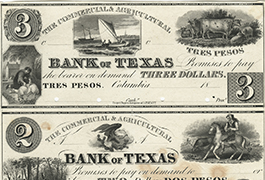 Commercial and Agricultural Bank of Texas $3.00 (three dollars) private scrip