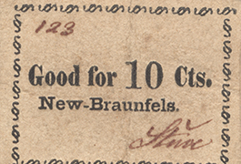 Stine 10 cents (ten cents) private scrip, ca. 1860s, New Braunfels, Comal County