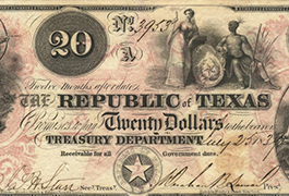 Republic of Texas $20.00 (twenty dollars)