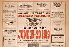 Juneteenth, 54th anniversary Emancipation Proclamation, 1865-1919, Thursday and Friday, June 19-20, 1919 at Herman's Park, Fort Worth, Texas