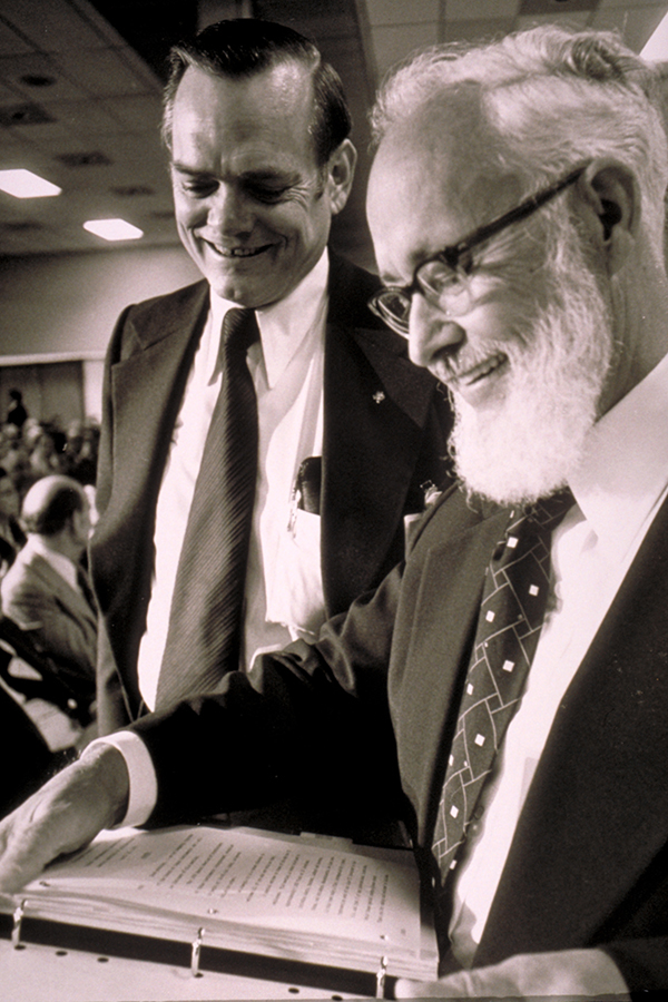 [Mark Shepherd (left) and Patrick E. Haggerty at Stockholders Meeting], 1976