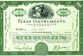 [First TI stock certificate], 1953