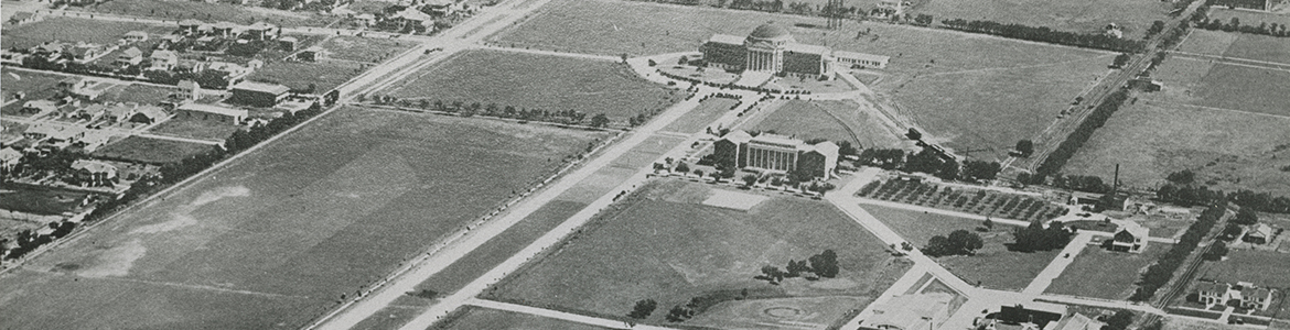 Early aerial view of campus, ca. 1920s