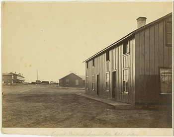 Hospital Buildings, Laramie City, Hotel in distance, ca. 1868-1870
