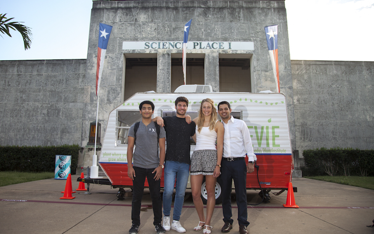 Senior Design team in front of Evie the mobile greenhouse at the State Fair of Texas from the Hunt Institute in Lyle School of Engineering at Southern Methodist University SMU