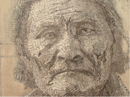 Detail of Geronimo, by Matthew Cusick, 2007.