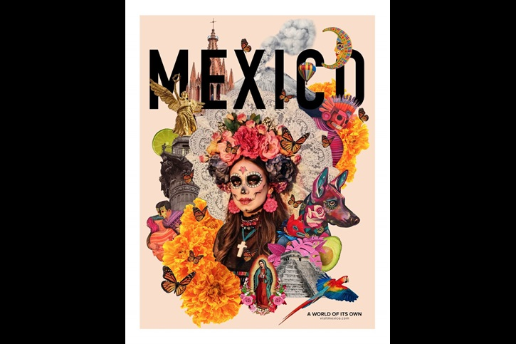 traditional Mexican art style tourism poster