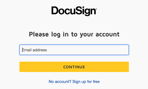 A screenshot of the DocuSign login screen.