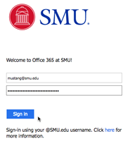 Office 365 at SMU Welcome Screen