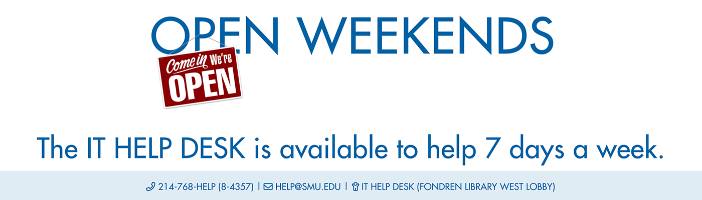 The IT Help Desk is available to help 7 days a week.