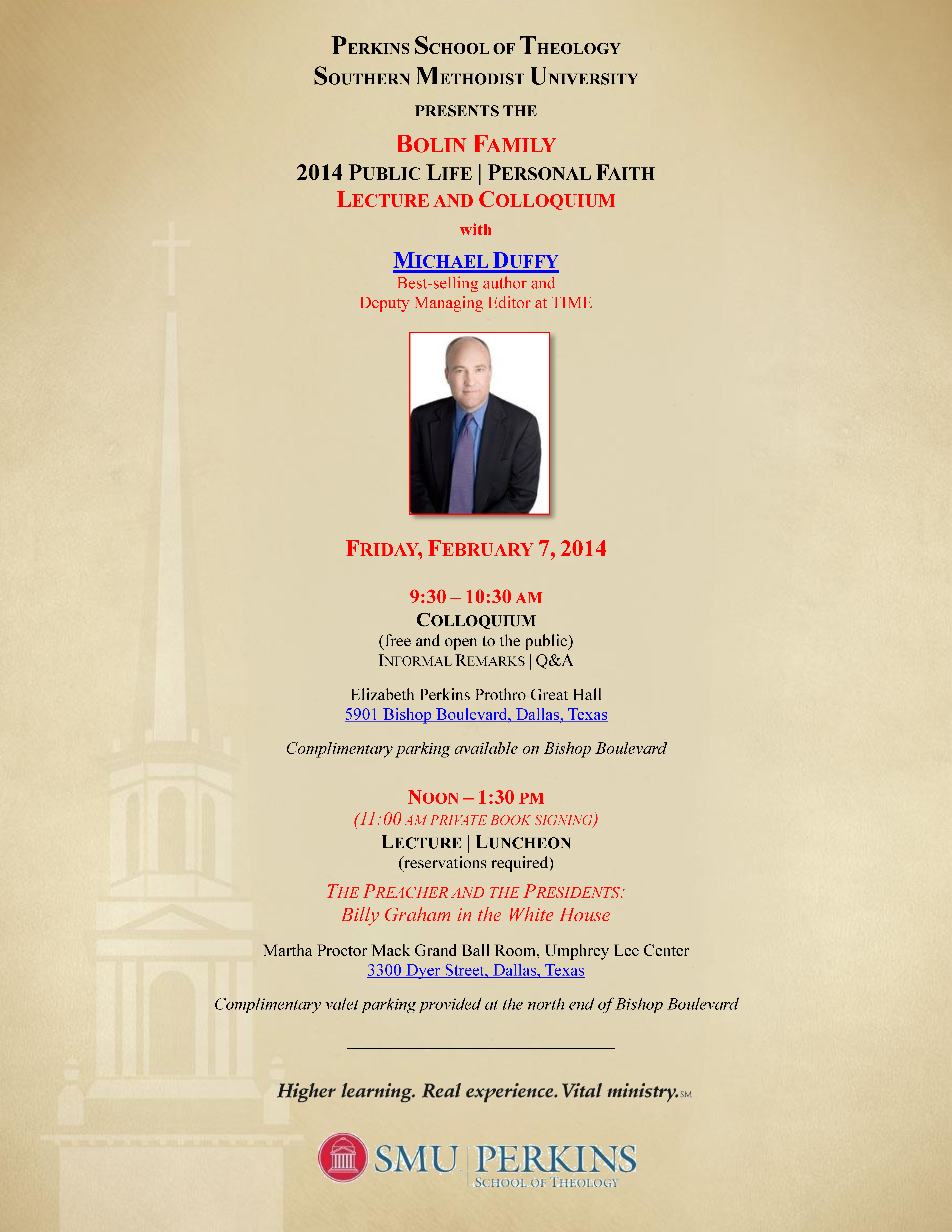 Public Life Personal Faith Lecture Luncheon Colloquium Perkins School of Theology Southern Methodist University SMU