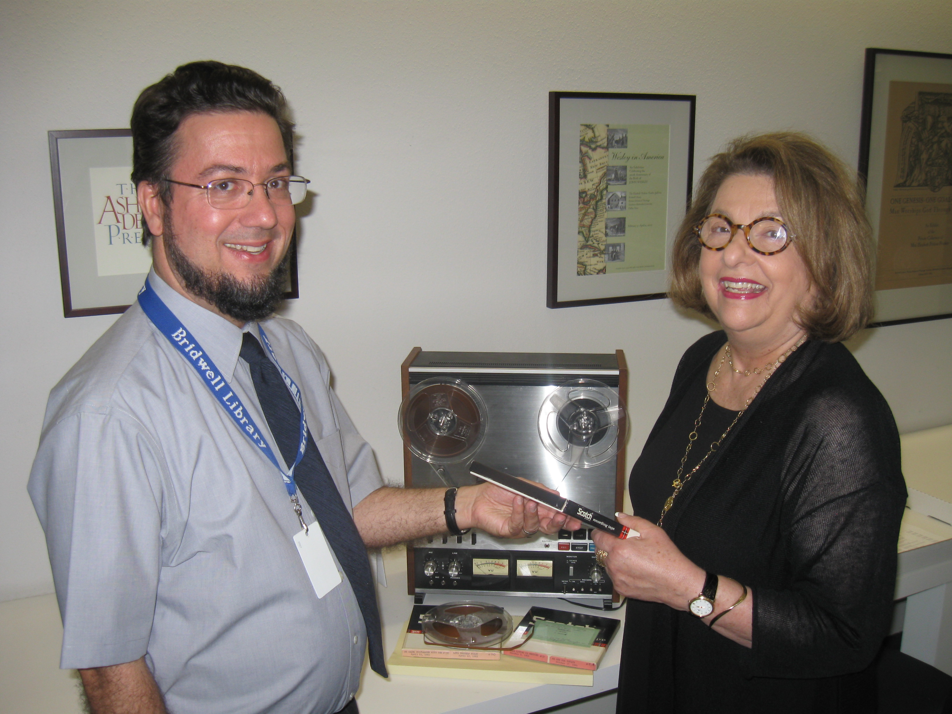 Larger Image - Bridwell Archivist Tim Binkley with Rabbi Olan's Daughter Liz Hirsch
