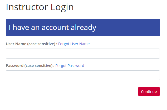 Instructor Portal Login form