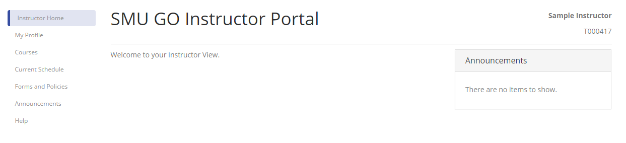 Instructor Portal Welcome Page