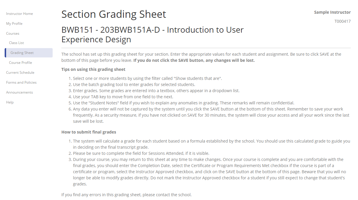 Grading Sheet Instructions