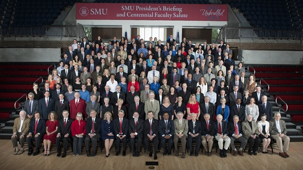 SMU faculty with president