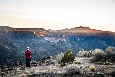Man walking in the Mountains in New Mexico