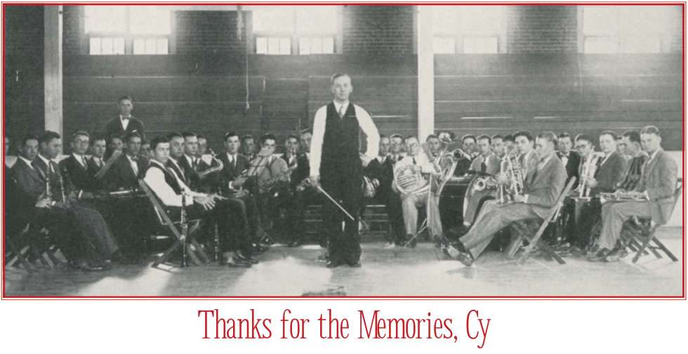 Thanks for the Memories, Cy Barcus -- Cy Barcus pictured with his Mustang Band, 1926