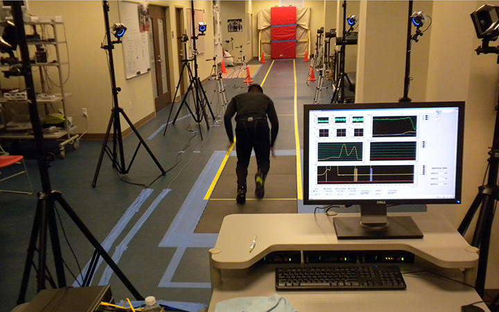 The SMU Locomotor Laboratory uses the OptiTrack(trademark) motion capture system to integrate collected force data with the mechanics of movement.