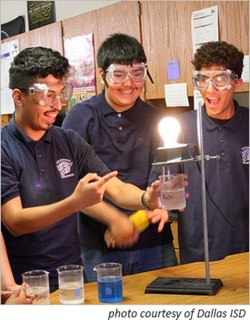 high school students working in STEM lab