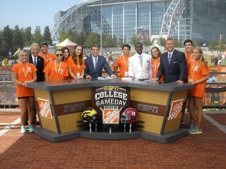 Group of students appearing on ESPN College GameDay pregrame broadcast