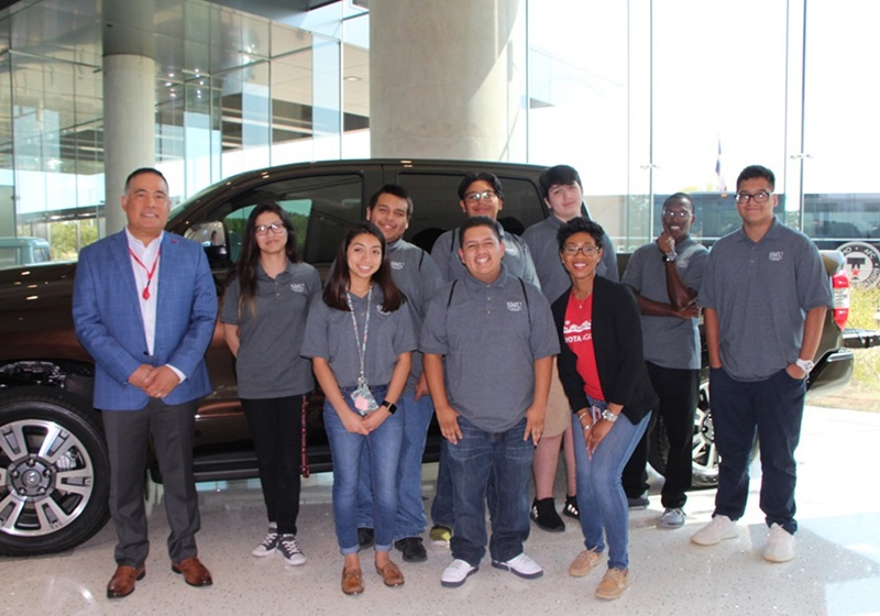 Upward Bound and Upward Bound Math Science Scholars attending Toyota Manufacturing Day event.