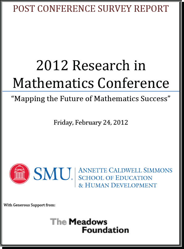 2012 Research in Mathematics Conference: Mapping the Future of Mathematics Success