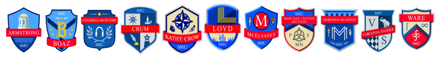 All of the Residential Commons crests side-by-side