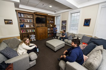 Student in the Virginia-Snider lounge