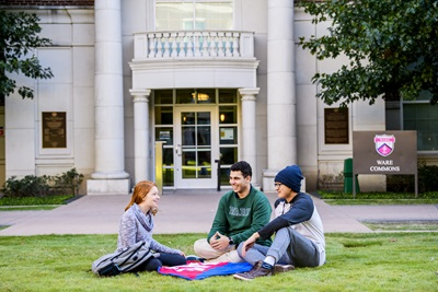 three Students Outside in SEA Quad