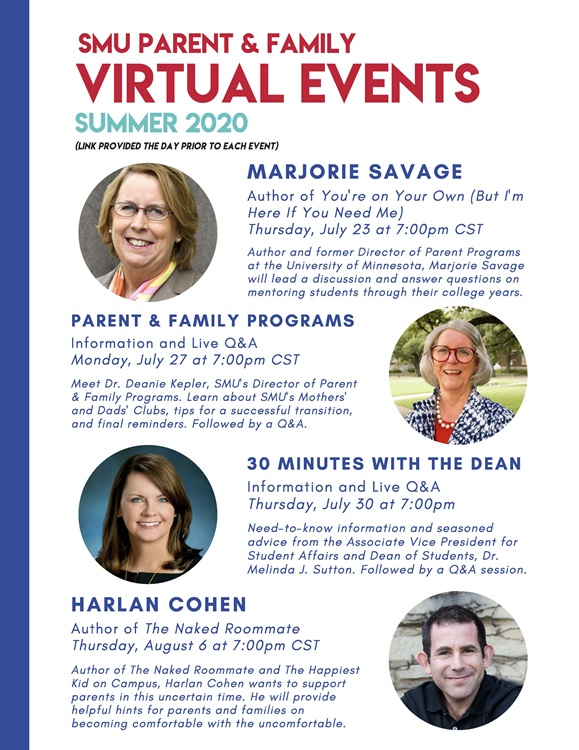 Parent and Families Virtual Events Summer 2020