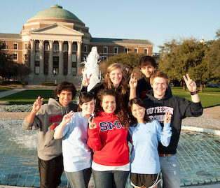 Students Pony Up in front of Dallas Hall fountain.