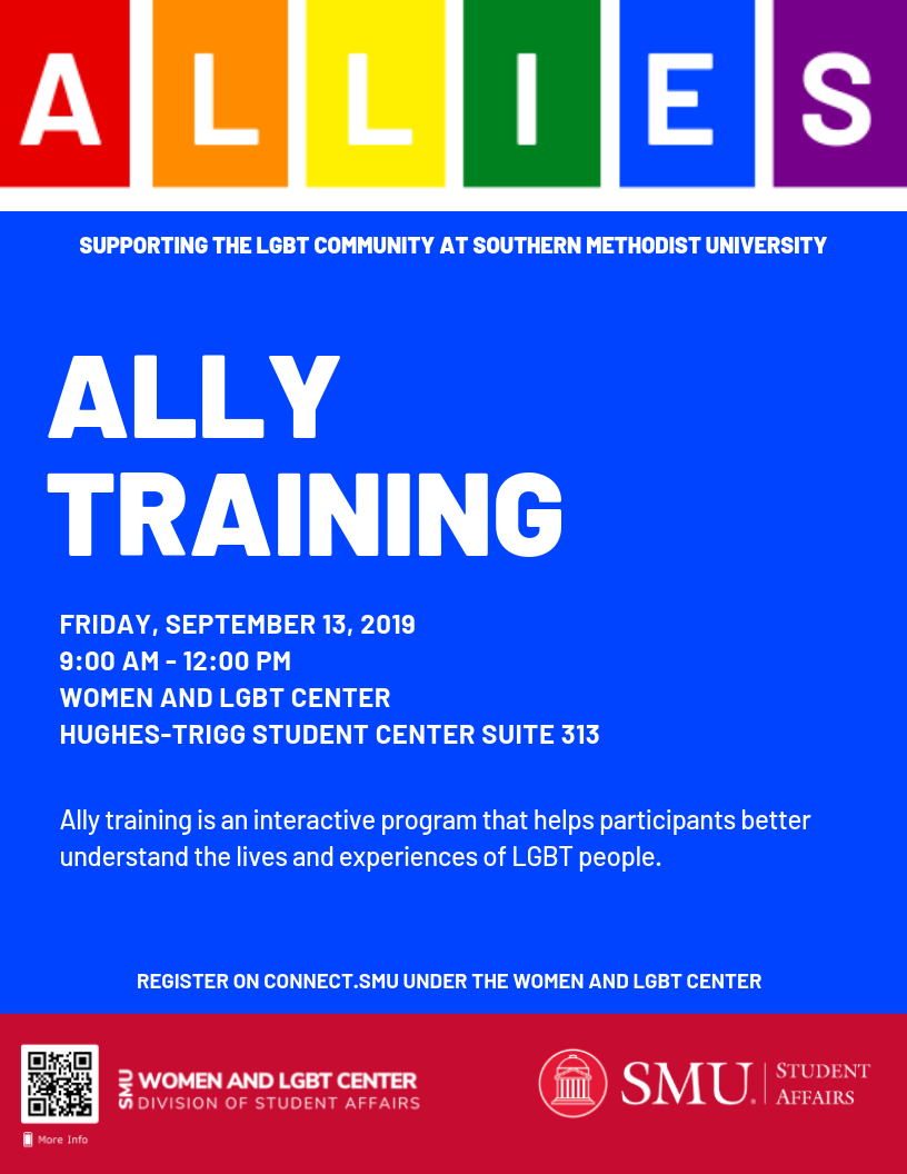 Ally Training Friday, September 13 from 9:00 AM - 12:00 PM in the Women and LGBT Center