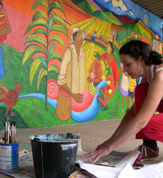 Visual artist Claudia Bernardi at work