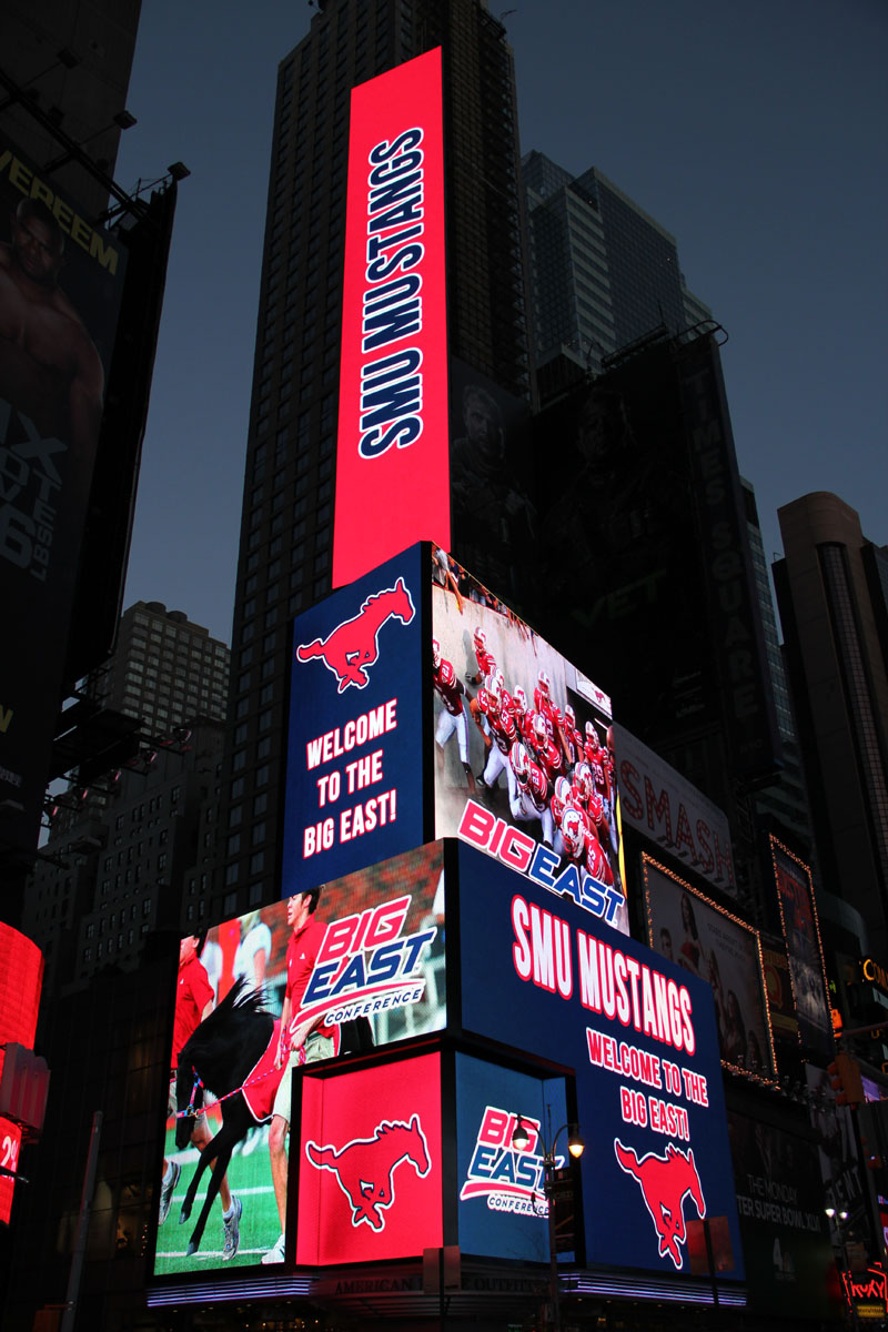 The BIG EAST welcomes SMU via this Times Square electronic billboard