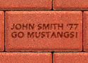 SMU sample brick paver for the proposed Centennial Promenade