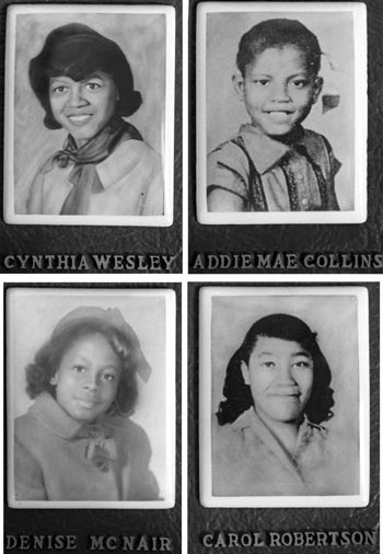 Birmingham church bombing victims Cynthia Wesley, Addie Mae Collins, Denise McNair and Carol Robertson