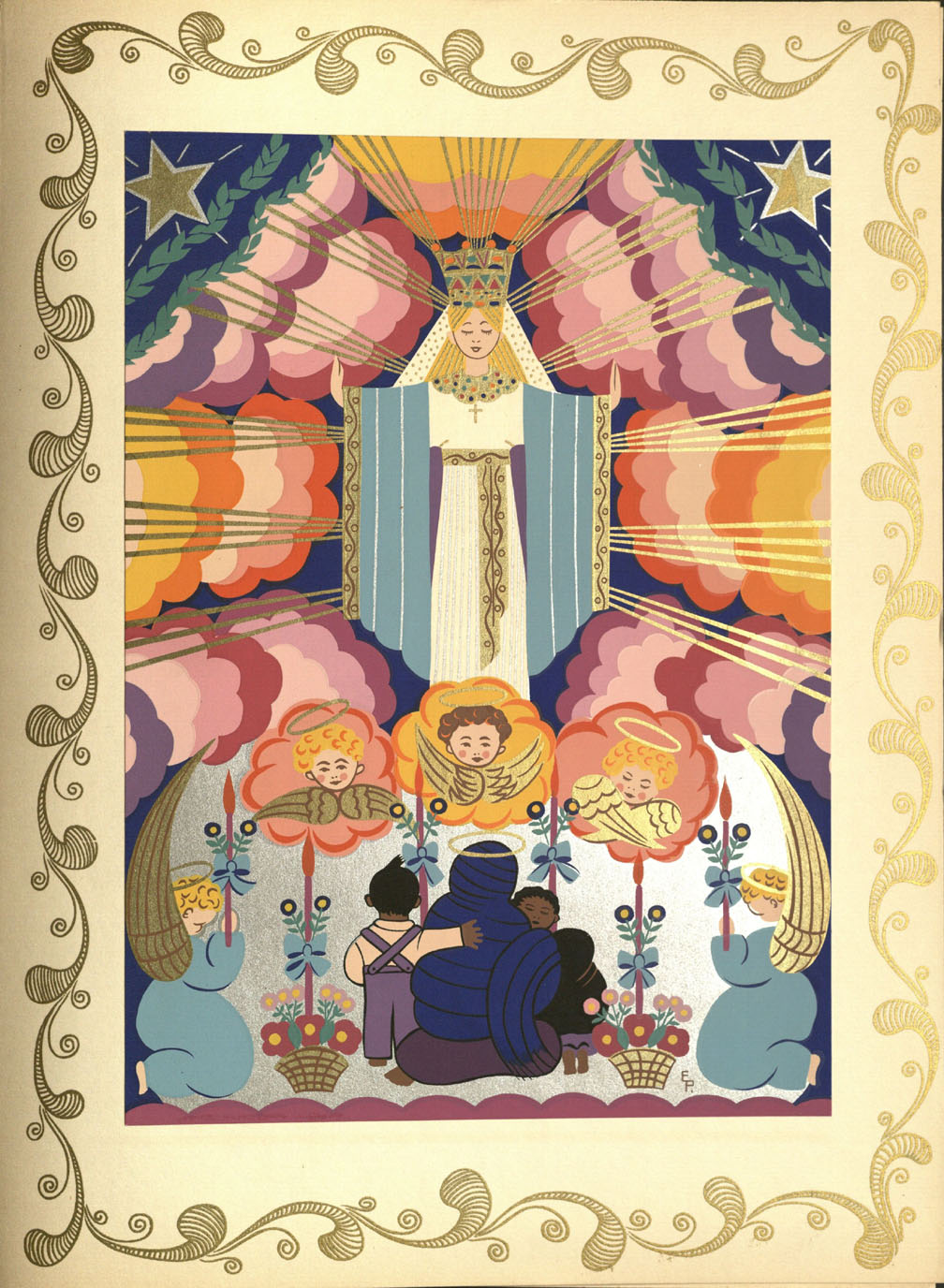 Silkscreen print of an altar scene from 'Mexico in Color' by Elma Pratt