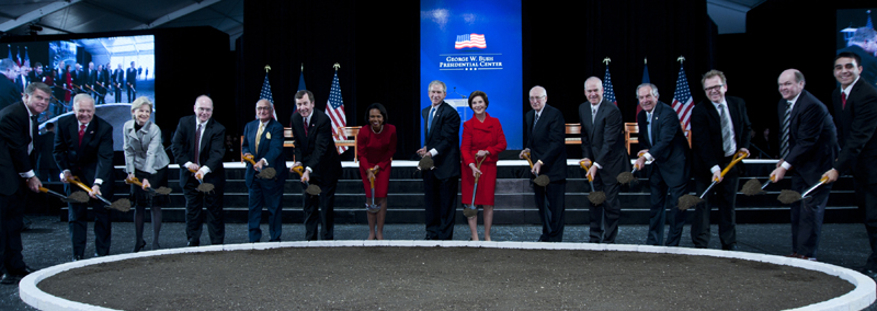 Group photo at the Bush Presidential Center groundbreaking