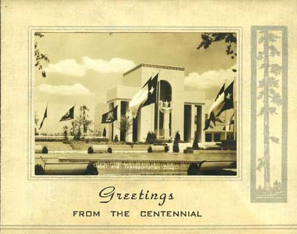 Greeting card from the Texas Centennial