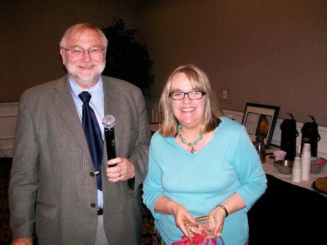President Gary Evans with Vicki Hill
