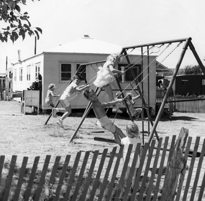 Children playing in Trailerville at SMU in the 1940s.